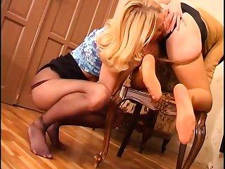 Blondes Lesbian Nylon Foot Worship