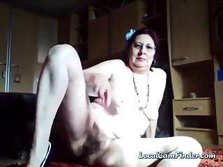 Kinky perishable granny enjoys peeing in a catch bucket