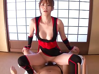 Japanese cosplay babe cockrides in the lead facial