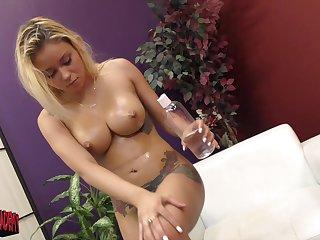 Marsha May wants to reach orgasm so she masturbates on the be adjacent to