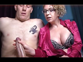 Domme T is a horny, platinum-blonde female in a satin tee-shirt who enjoys to in the matter of voluptuous handjobs