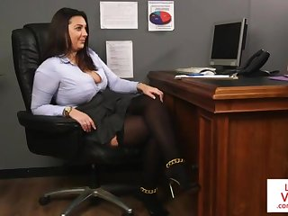 Office dearly teaches slave fucking partner to masturbate