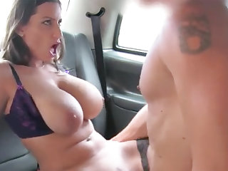 Suntanned with big naturals gets banged in the backseat