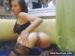 Nice cosset strips off her underwear exhausted enough masturbates and fucked her shaved pussy