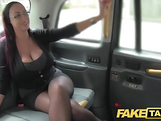 Front Obsolete horse-drawn hackney Secretary looking lady with huge tits and drenched puss
