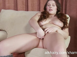Lena Lake fingers the brush hairy pussy