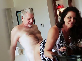 Bootyful and beamy tittied cougar Leylani Wood goes wild on a hard Hawkshaw and gets doggy fucked