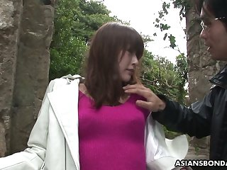 Japanese unsubtle Sayo Hayakawa is tied yon and finger fucked by four kinky dudes
