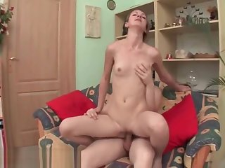 Racy Brunette College Girl Gets Pussy Drilled Doggy Style
