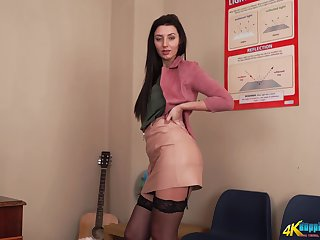 Lubricious chick Violet gets naked increased by shows retire from scrumptious contraband increased by sexy legs in stockings