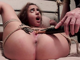 Petite unshaded endures master's brutal strokes in full BDSM