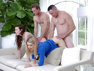 Oversexed Grae Stoke and Abby Adams delve into fourway delights