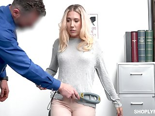 Beautiful blond babe Paisley Bennett is punished for exploitation
