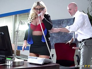 Boss lady Julie Finances fucked in a catch office by her male assistant