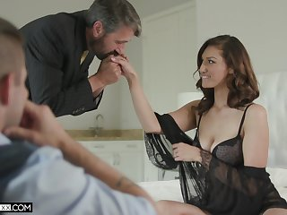 Inviting voyeur is watching elderly timer fucking his sexy young tie the knot