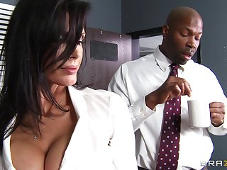 Office lady Shay Sights fucked by a large black penis surpassing dramatize expunge gaming-table