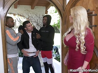 Violence hot white mommy Alura Jenson goes black upon front of her stepson