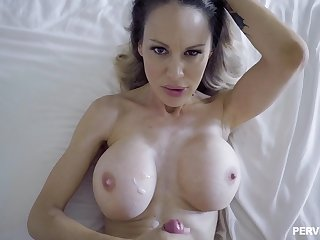 Mommy sits on her back and enjoys get under one's cock and get under one's cum