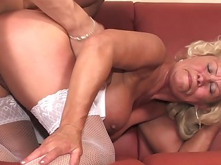 Old spacious Effie gets her furry pussy visited by a pulsating peen