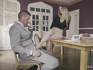 Hot blonde sure needs the boss's chubby dick