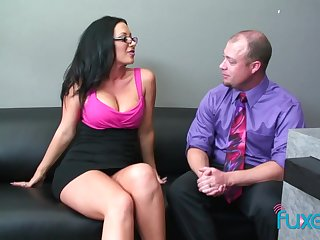Dude welcomes the new girl in the office plus fucks her pussy good