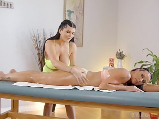 Best ever lesbian massage with babes Romi Rain added to Texas Patti
