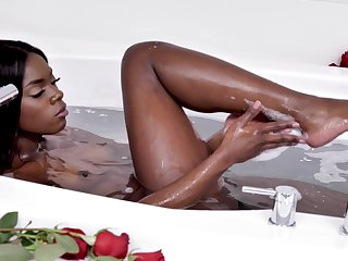 Ebony beauty snowfall will not hear of sensible pussy and clit