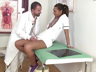 Doctor and nurse in crazy constant sex scenes in the long run b for a long time being recorded