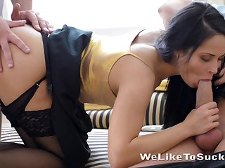 Tempting brunette Kristall Rush gets double penetrated and jizzed