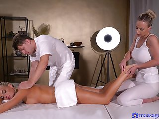 Massage shows this naked blonde's addiction to both pussy and horseshit