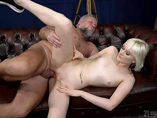 Old buck tries his fortune wide nubile blonde Fold up Melissa