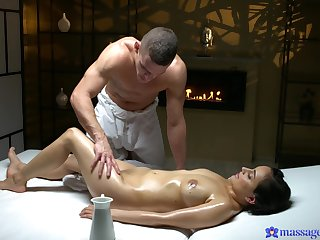 Adorable woman finally goes intimate nearby the younger masseur