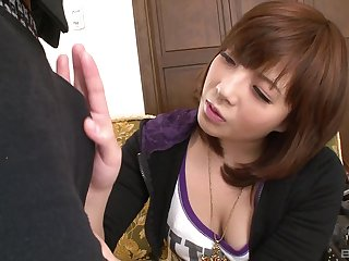 Hairy pussy Japanese toddler spreads the brush legs encircling be fucked deep