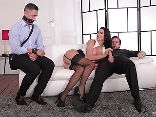 Cougar MILF fucks with one of the young men from the office