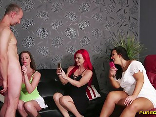 Aroused chicks love a good cock deployment XXX play relating to CFNM front