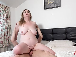 Horny adult lady coupled with sexy stud meeting result in hardcore drilling coupled with bed destruction