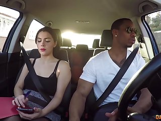 Hot driving instructor Valentina Nappi hooks roughly with one of the brush students