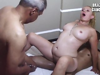 Latina lustful cougar incredible gangbang scene