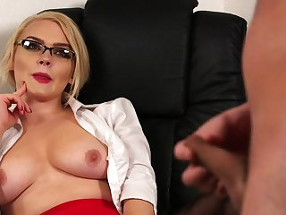Aroused blonde thinks about it