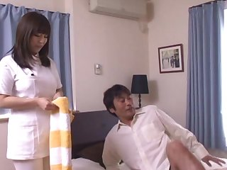 Slutty Asian nurse gets horny and starts sucking a puristic penis