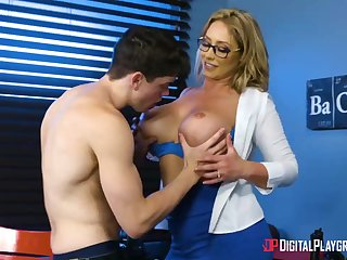 Huge-Boobed, towheaded cougar, Eva Notty is having hookup concerning her step- son-in-law, nearly every day
