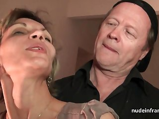 Older knob and youthfull pipe penetrate French mature and sploog her face with spunk in threesome