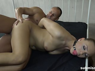 Brunette old bag Morgan Rodriguez ball gaged added to pounded hardcore